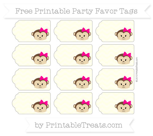 Free Cream Chevron Girl Monkey Party Favor Tags