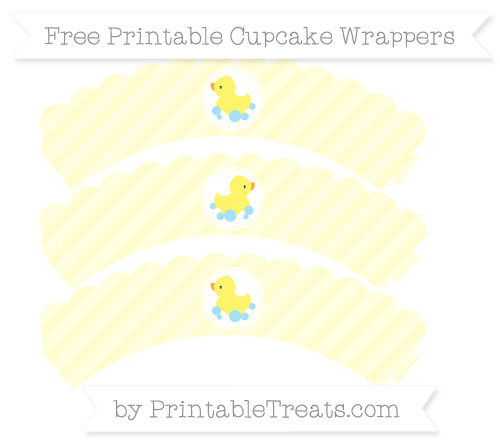 Free Cream Diagonal Striped Baby Duck Scalloped Cupcake Wrappers