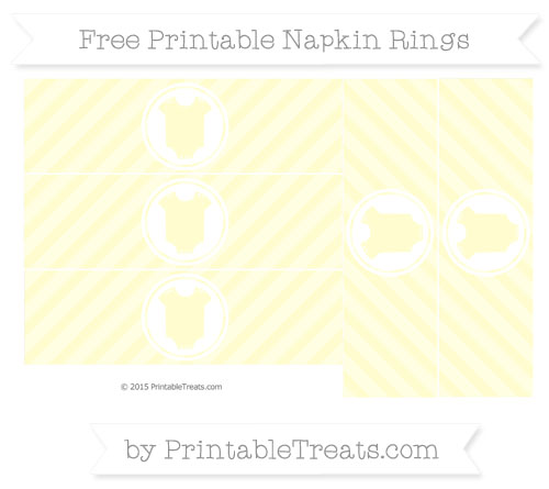 Free Cream Diagonal Striped Baby Onesie Napkin Rings