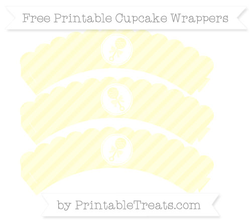 Free Cream Diagonal Striped Baby Rattle Scalloped Cupcake Wrappers