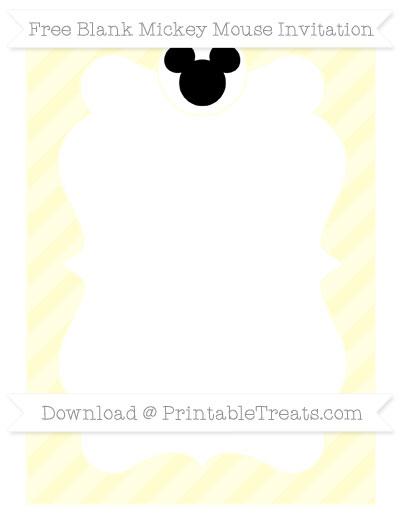 Free Cream Diagonal Striped Blank Mickey Mouse Invitation
