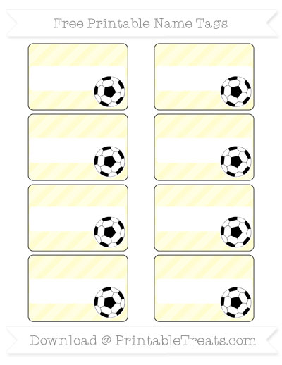 Free Cream Diagonal Striped Soccer Name Tags