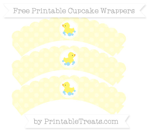 Free Cream Dotted Pattern Baby Duck Scalloped Cupcake Wrappers