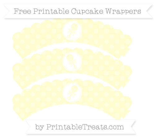 Free Cream Dotted Pattern Baby Rattle Scalloped Cupcake Wrappers
