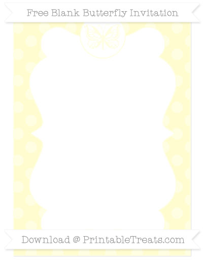 Free Cream Dotted Pattern Blank Butterfly Invitation