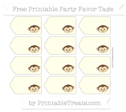 Free Cream Dotted Pattern Boy Monkey Party Favor Tags