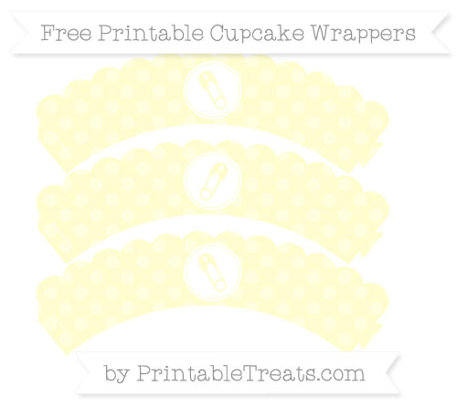 Free Cream Dotted Pattern Diaper Pin Scalloped Cupcake Wrappers