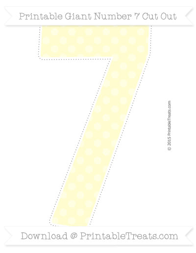 Free Cream Dotted Pattern Giant Number 7 Cut Out