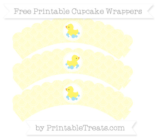 Free Cream Fish Scale Pattern Baby Duck Scalloped Cupcake Wrappers