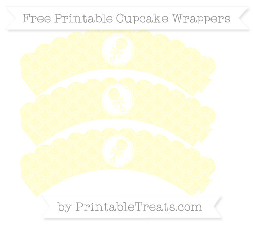 Free Cream Fish Scale Pattern Baby Rattle Scalloped Cupcake Wrappers