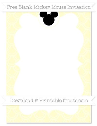 Free Cream Fish Scale Pattern Blank Mickey Mouse Invitation