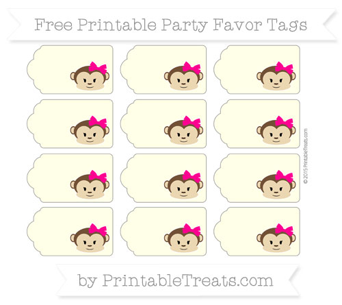 Free Cream Girl Monkey Party Favor Tags