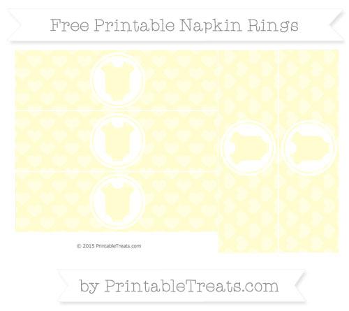Free Cream Heart Pattern Baby Onesie Napkin Rings
