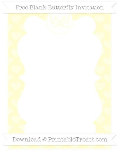 Free Cream Heart Pattern Blank Butterfly Invitation