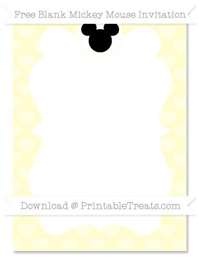 Free Cream Heart Pattern Blank Mickey Mouse Invitation