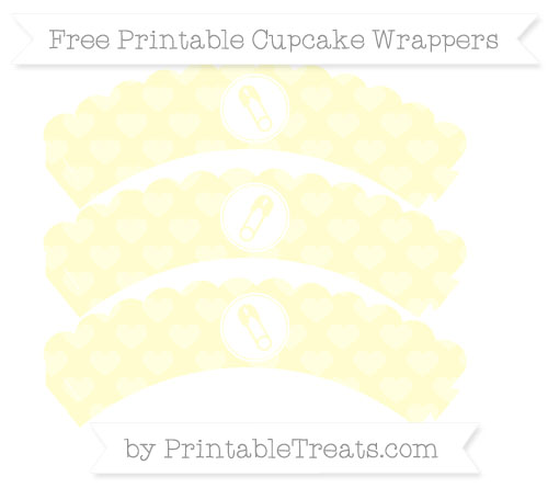 Free Cream Heart Pattern Diaper Pin Scalloped Cupcake Wrappers