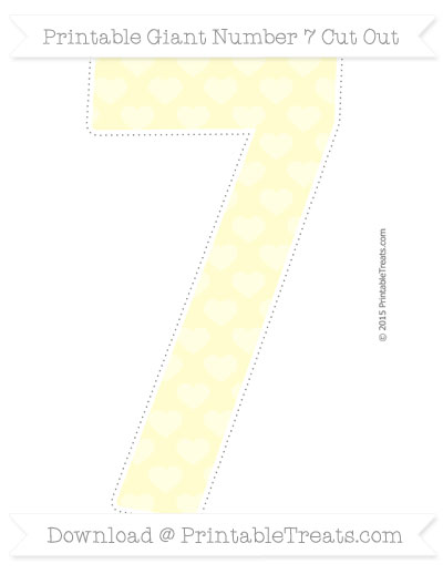 Free Cream Heart Pattern Giant Number 7 Cut Out