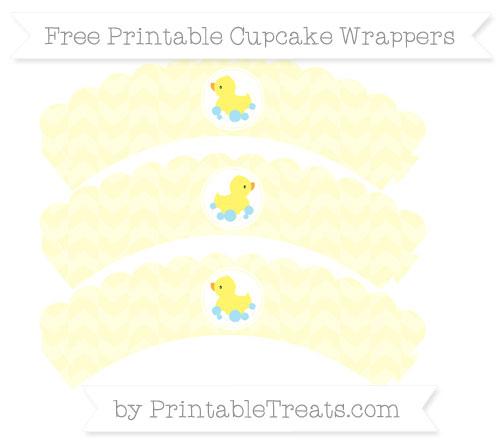 Free Cream Herringbone Pattern Baby Duck Scalloped Cupcake Wrappers