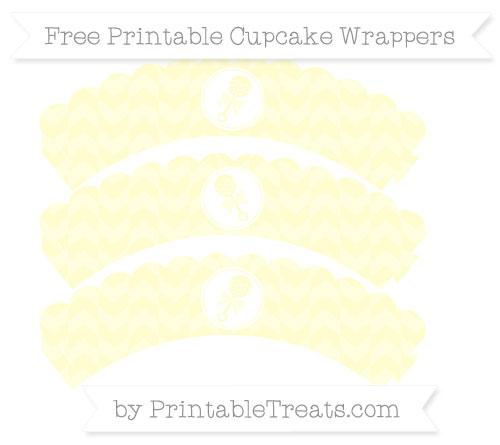 Free Cream Herringbone Pattern Baby Rattle Scalloped Cupcake Wrappers