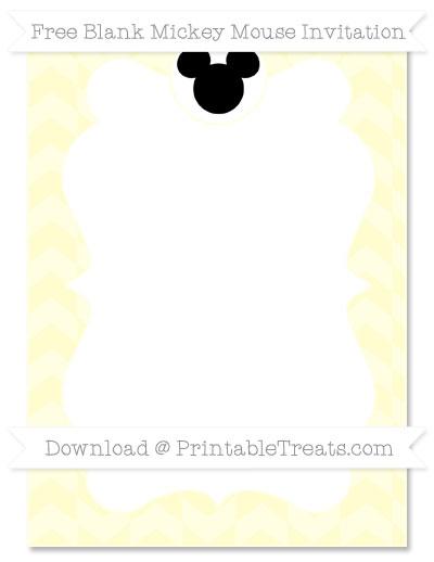 Free Cream Herringbone Pattern Blank Mickey Mouse Invitation