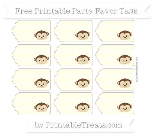 Free Cream Herringbone Pattern Boy Monkey Party Favor Tags