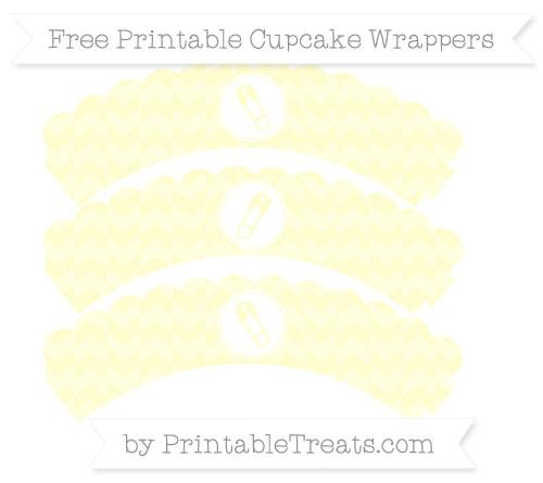Free Cream Herringbone Pattern Diaper Pin Scalloped Cupcake Wrappers