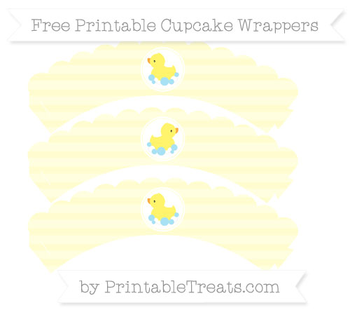 Free Cream Horizontal Striped Baby Duck Scalloped Cupcake Wrappers