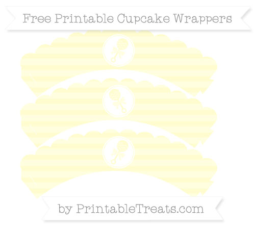 Free Cream Horizontal Striped Baby Rattle Scalloped Cupcake Wrappers