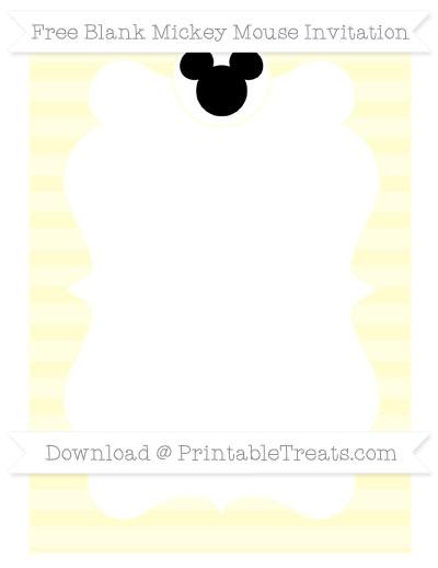 Free Cream Horizontal Striped Blank Mickey Mouse Invitation
