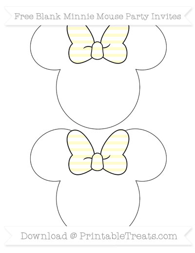 Free Cream Horizontal Striped Blank Minnie Mouse Party Invites
