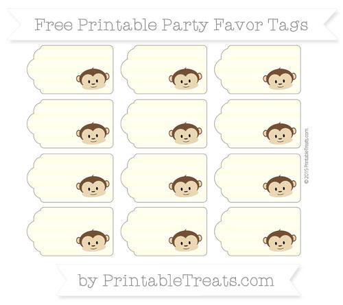 Free Cream Horizontal Striped Boy Monkey Party Favor Tags