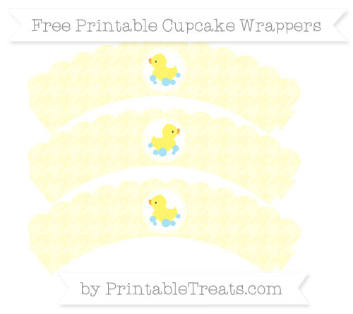 Free Cream Houndstooth Pattern Baby Duck Scalloped Cupcake Wrappers