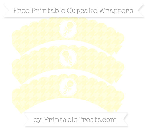 Free Cream Houndstooth Pattern Baby Rattle Scalloped Cupcake Wrappers