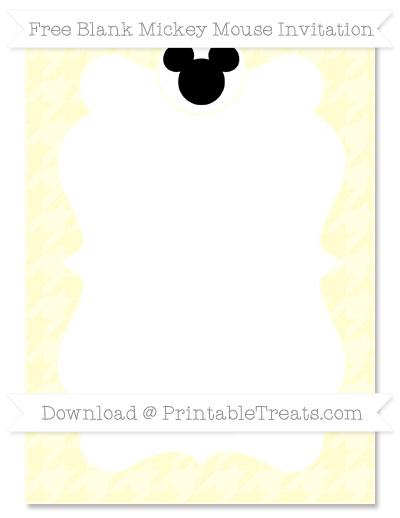 Free Cream Houndstooth Pattern Blank Mickey Mouse Invitation