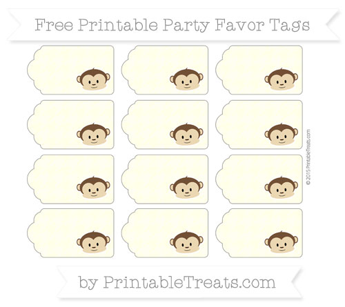 Free Cream Houndstooth Pattern Boy Monkey Party Favor Tags