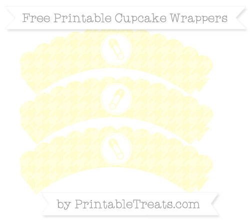 Free Cream Houndstooth Pattern Diaper Pin Scalloped Cupcake Wrappers