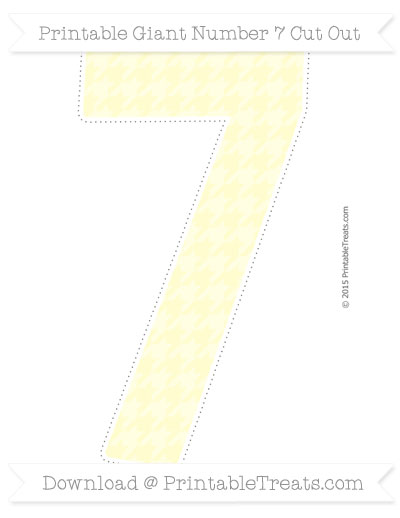 Free Cream Houndstooth Pattern Giant Number 7 Cut Out