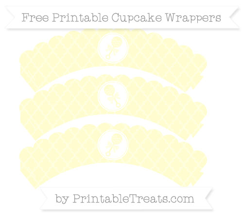 Free Cream Moroccan Tile Baby Rattle Scalloped Cupcake Wrappers