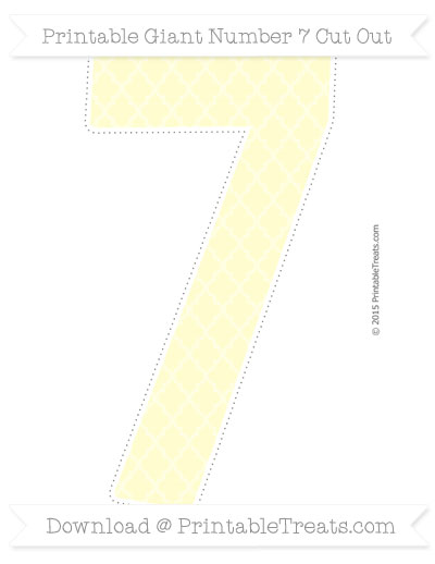 Free Cream Moroccan Tile Giant Number 7 Cut Out