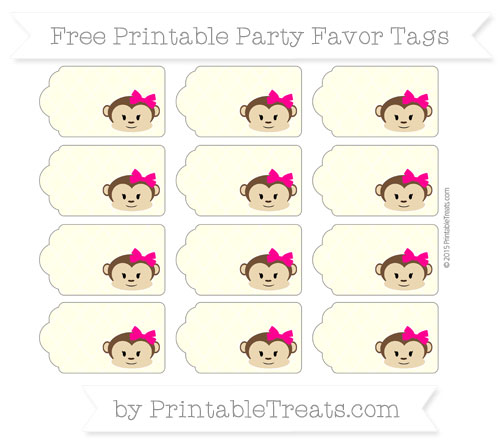 Free Cream Moroccan Tile Girl Monkey Party Favor Tags