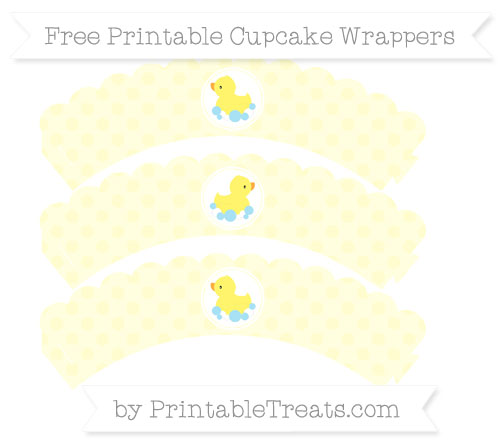 Free Cream Polka Dot Baby Duck Scalloped Cupcake Wrappers