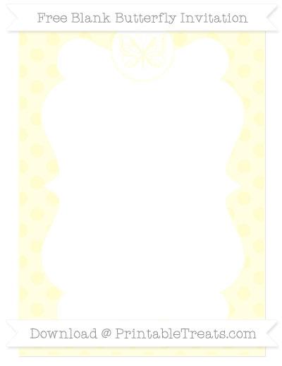 Free Cream Polka Dot Blank Butterfly Invitation