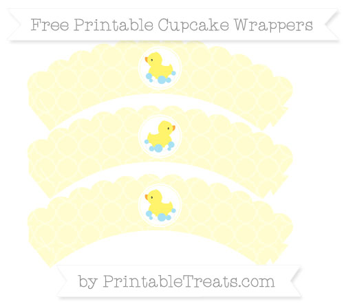 Free Cream Quatrefoil Pattern Baby Duck Scalloped Cupcake Wrappers