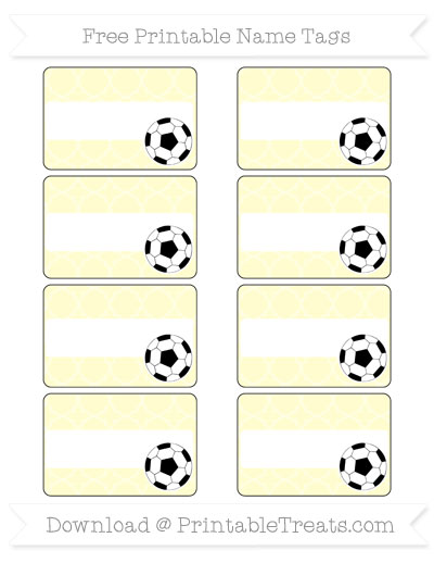 Free Cream Quatrefoil Pattern Soccer Name Tags