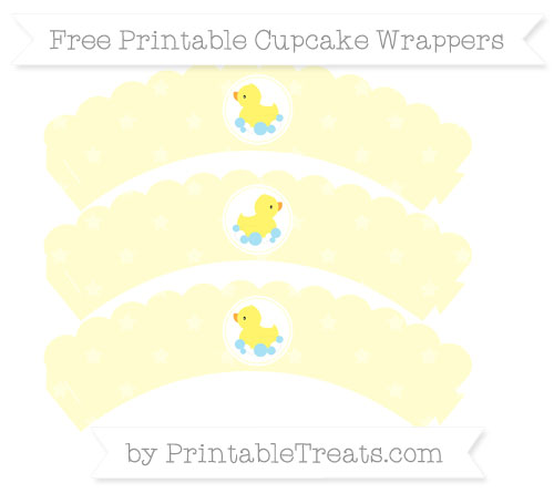 Free Cream Star Pattern Baby Duck Scalloped Cupcake Wrappers