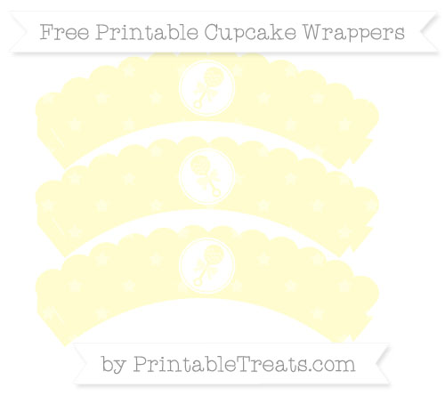 Free Cream Star Pattern Baby Rattle Scalloped Cupcake Wrappers