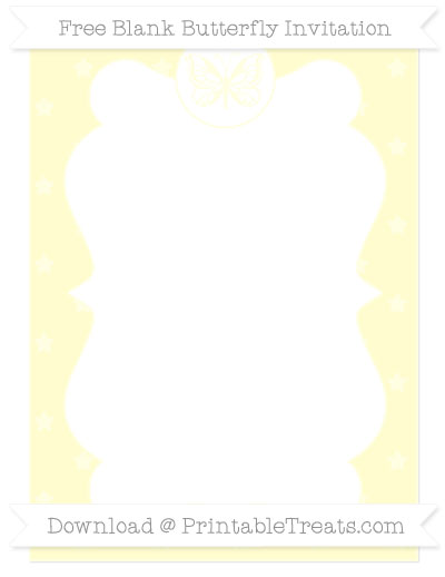 Free Cream Star Pattern Blank Butterfly Invitation