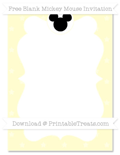 Free Cream Star Pattern Blank Mickey Mouse Invitation