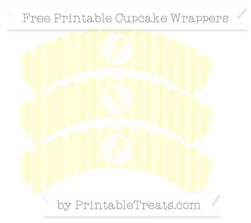 Free Cream Striped Baby Rattle Scalloped Cupcake Wrappers