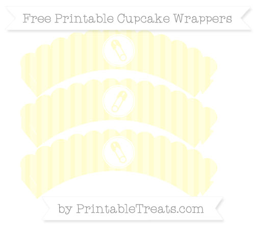 Free Cream Striped Diaper Pin Scalloped Cupcake Wrappers
